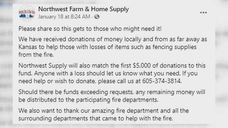 Multiple organizations are donating funds to families impacted by the fire in Perkins County.
