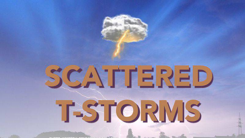 Another chance of scattered storms tomorrow