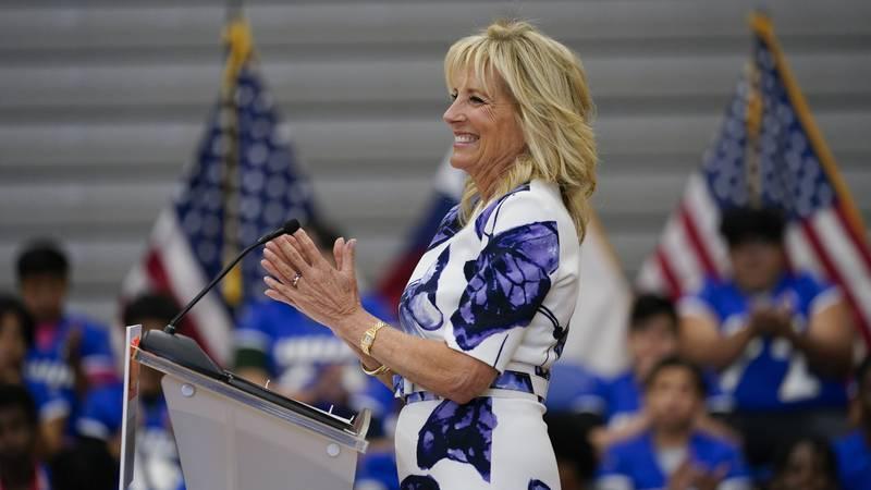 First lady Jill Biden speaks at Emmett J. Conrad High School in Dallas, Tuesday, June 29, 2021.