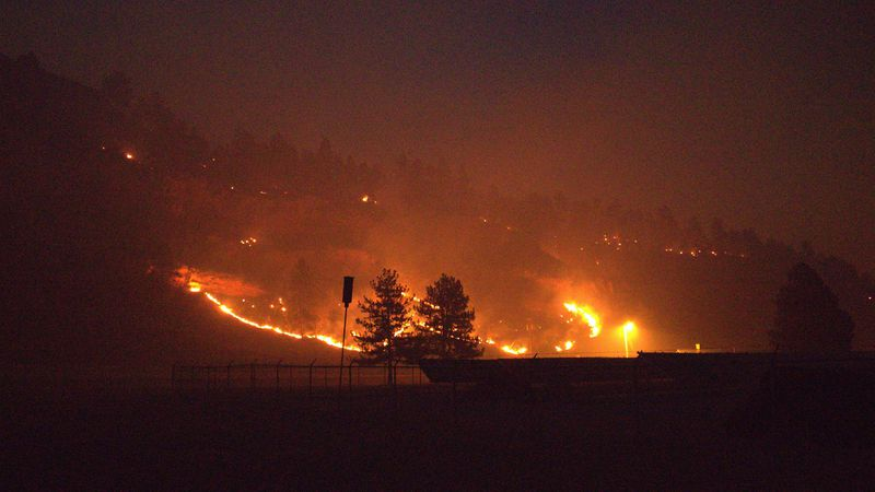 Schroeder Fire burns north of Highway 44 9 p.m. on March 29.