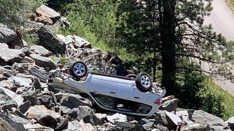 An accident kept Highway 385 closed the afternoon of June 22, 2021.