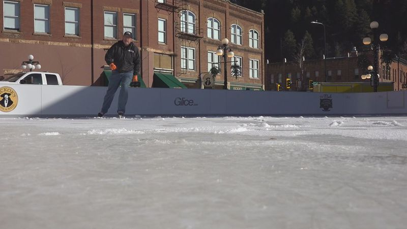The glice rink at Outlaw Square is open.