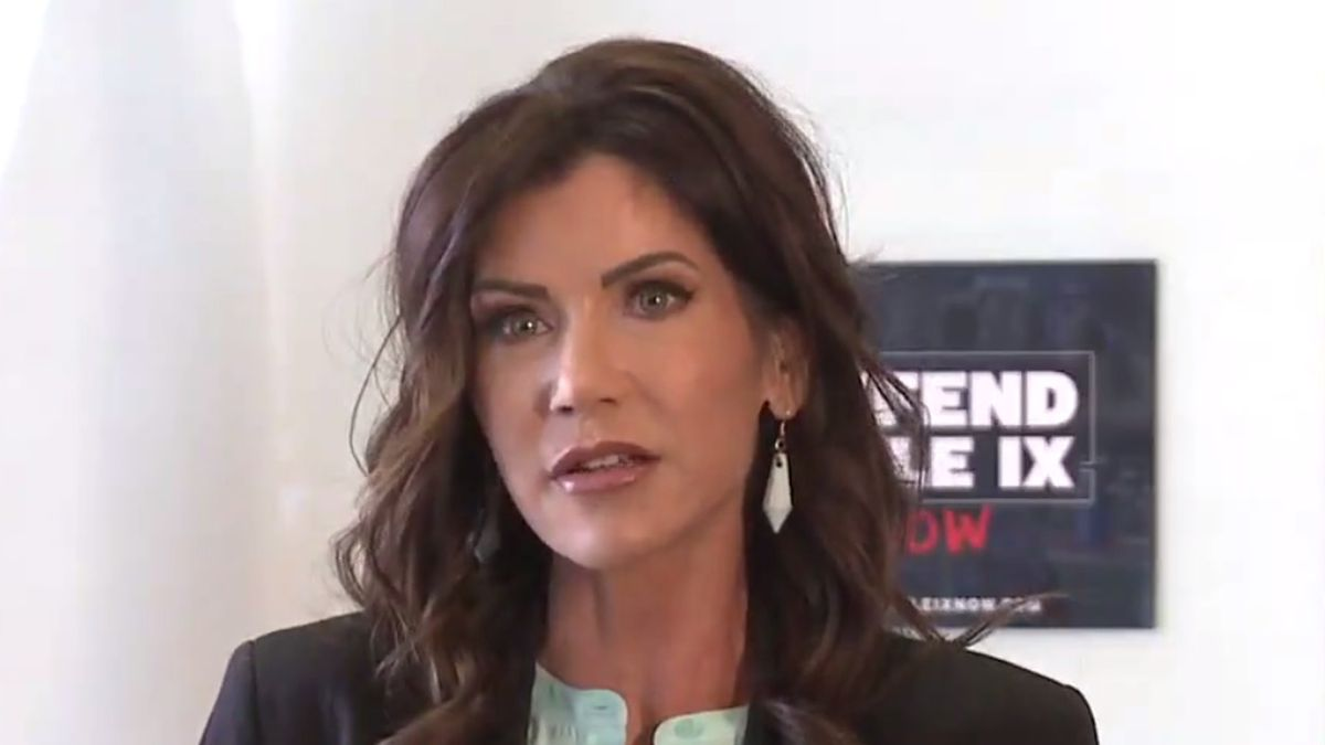 Gov. Kristi Noem speaks at a press conference discussing transgender athletes in women's sports...