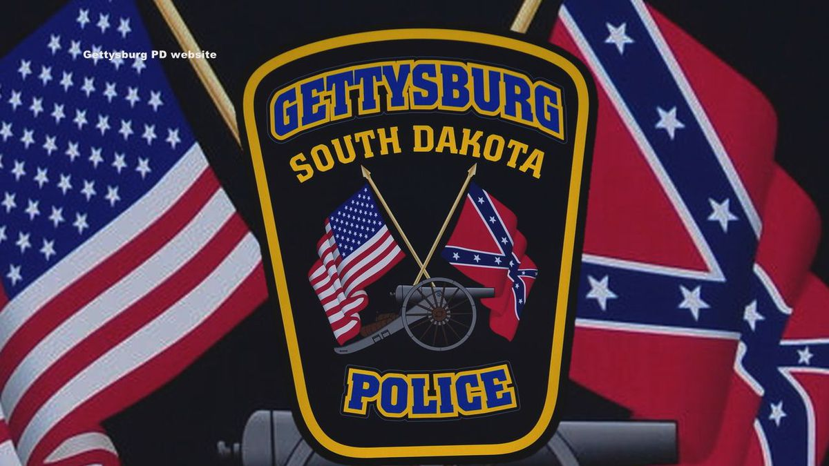 Gettysburg, South Dakota Police Department patch contains the confederate flag.