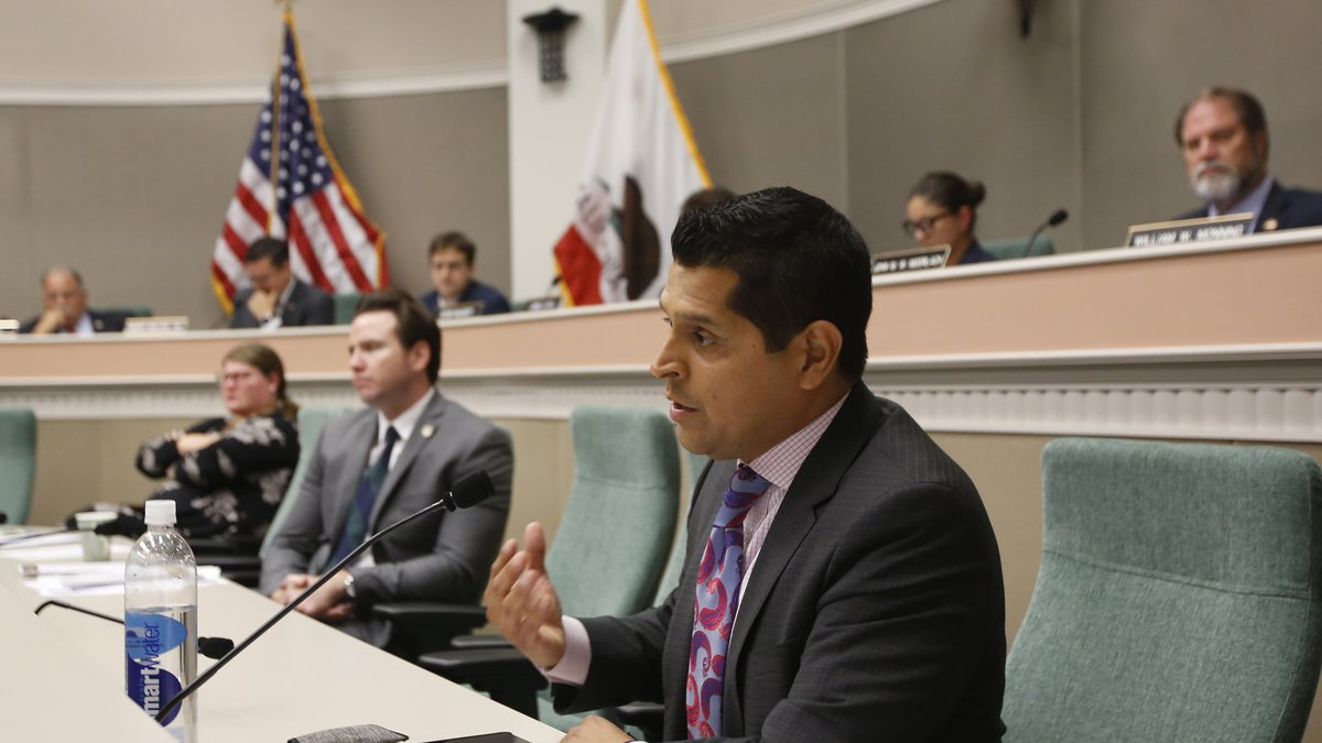 FILE -  In this Aug. 12, 2019 file photo Assemblyman Miguel Santiago, D-Los Angeles, questions...