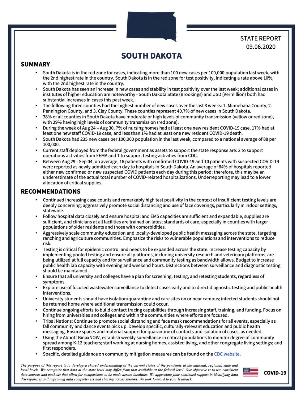 Summary and recommendations for South Dakota in the White House Coronavirus Task Force report, obtained by ABC News