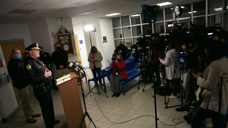 Virginia Beach Police Chief Paul Neudigate addresses media in the lobby of the Virginia Beach...