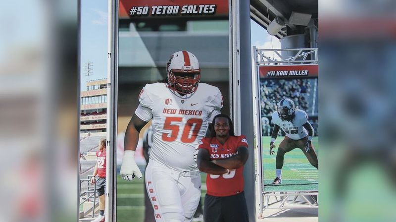 Teton Saltes played college football at the University of New Mexico as an offensive tackle.