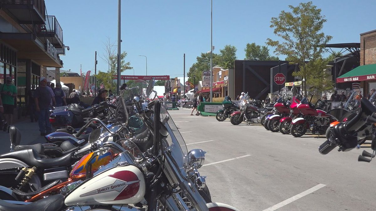 Packed Downtown Sturgis during the Rally.