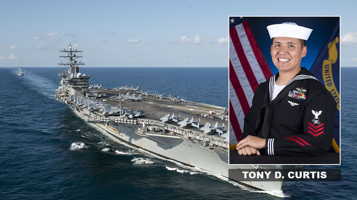 Mass Communication Specialist 1st Class Tony D. Curtis is the USS Dwight D. Eisenhower Sailor of the Year. Curtis also shot this photograph of the Eisenhower during an exercise in September 2019. (U.S. Navy photo by Mass Communication Specialist 1st Class Tony D. Curtis)