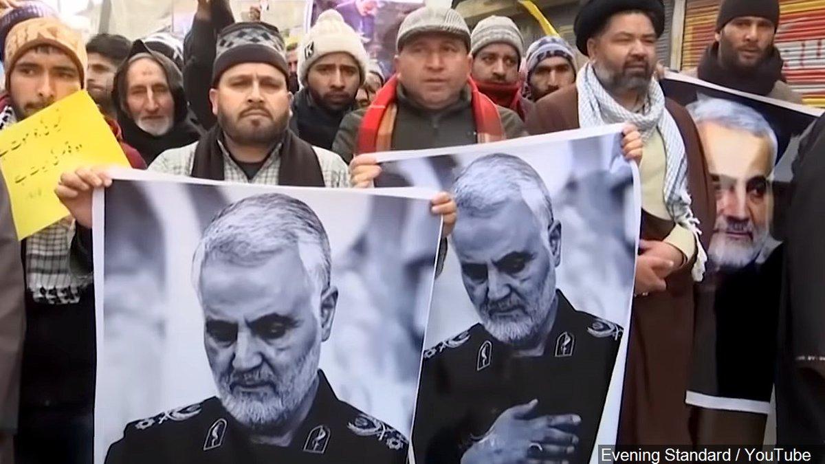 Protest after Iran's General Qasem Soleimani Killed in Kashmir   Photo: Evening Standard /...
