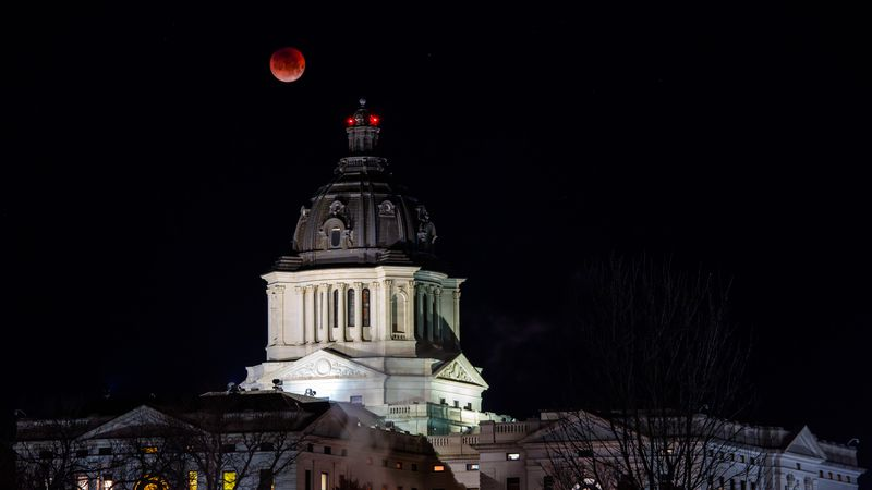 Super Blue Blood Moon over the South Dakota State Capitol; Photo courtesy of Keith Hemmelman