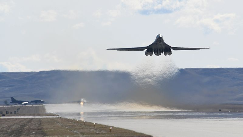 A B-1B Lancer takes off from Ellsworth Air Force Base, S.D., Oct. 24, 2019, to support a...