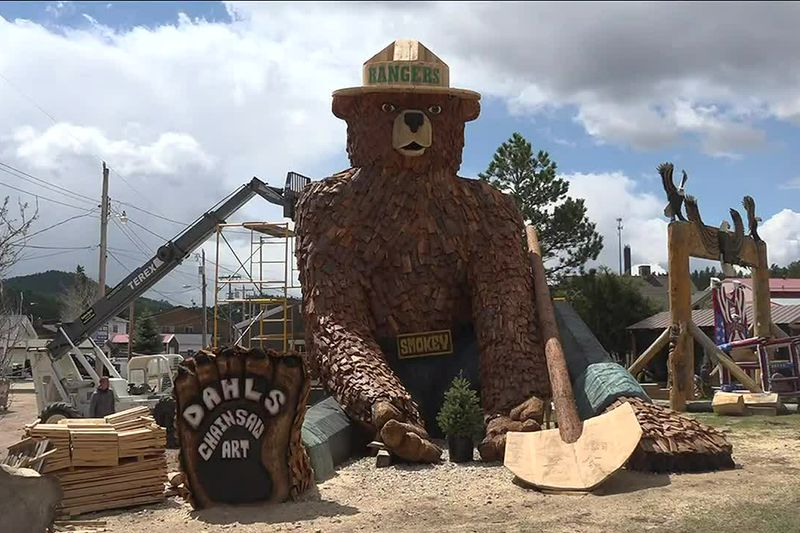 This giant Smokey Bear statues greets visitors and residents alike as they enter Hill City.