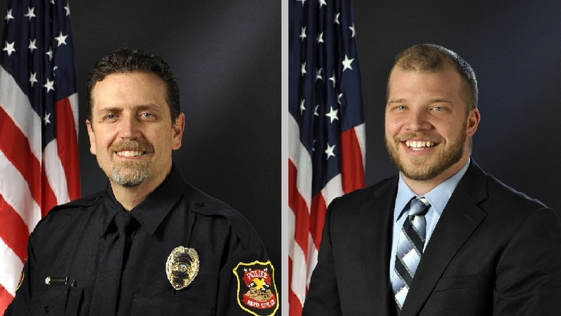 Interim Chief of Police Don Hedrick announces the promotion of Phil Koch and Chris Holbrook to...