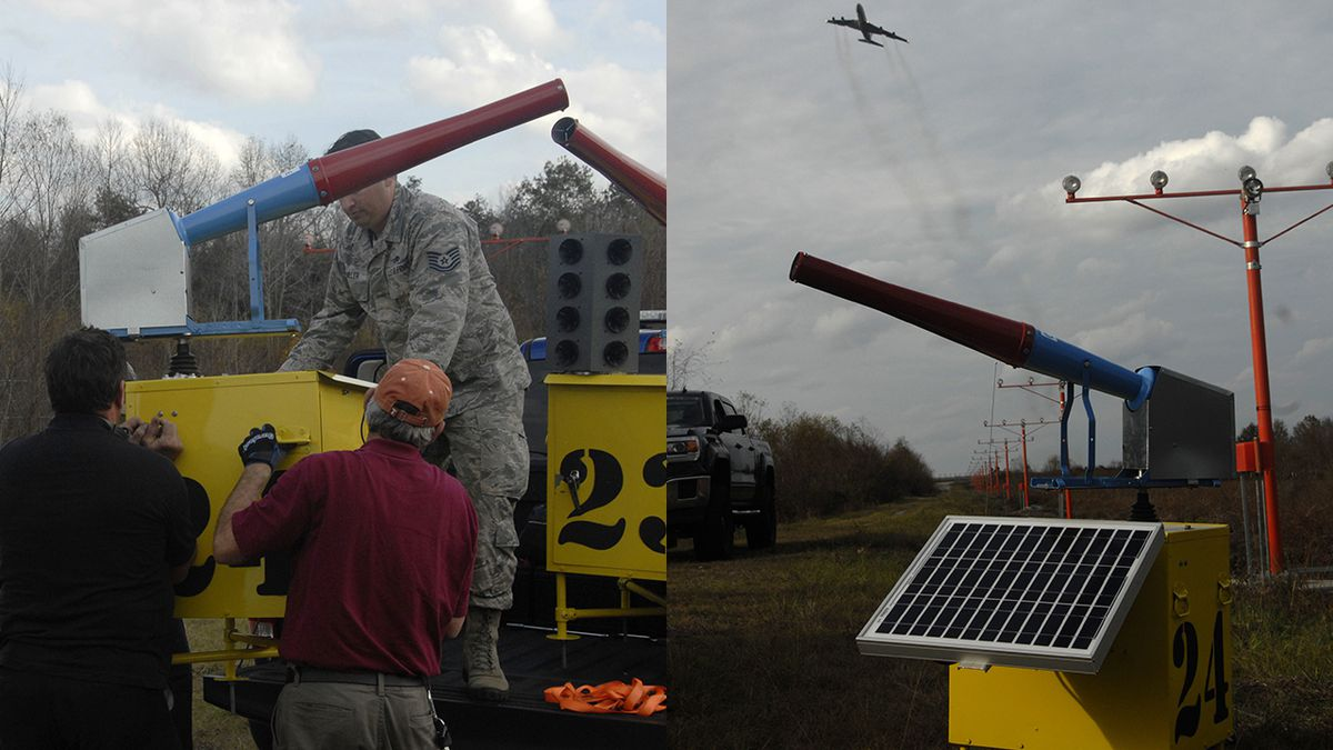 One of 24 bird cannons being installed at Robins Air Force Base, Ga. The cannons are located mainly in the aircraft approach and departure areas to help prevent birds from nesting and to limit encounters between birds and aircraft in the base's airspace. The system is part of an effort to minimize loss of Air Force resources and personnel from potentially hazardous wildlife populations around the runway. (U.S. Air Force photo s by Jonathan Bell)