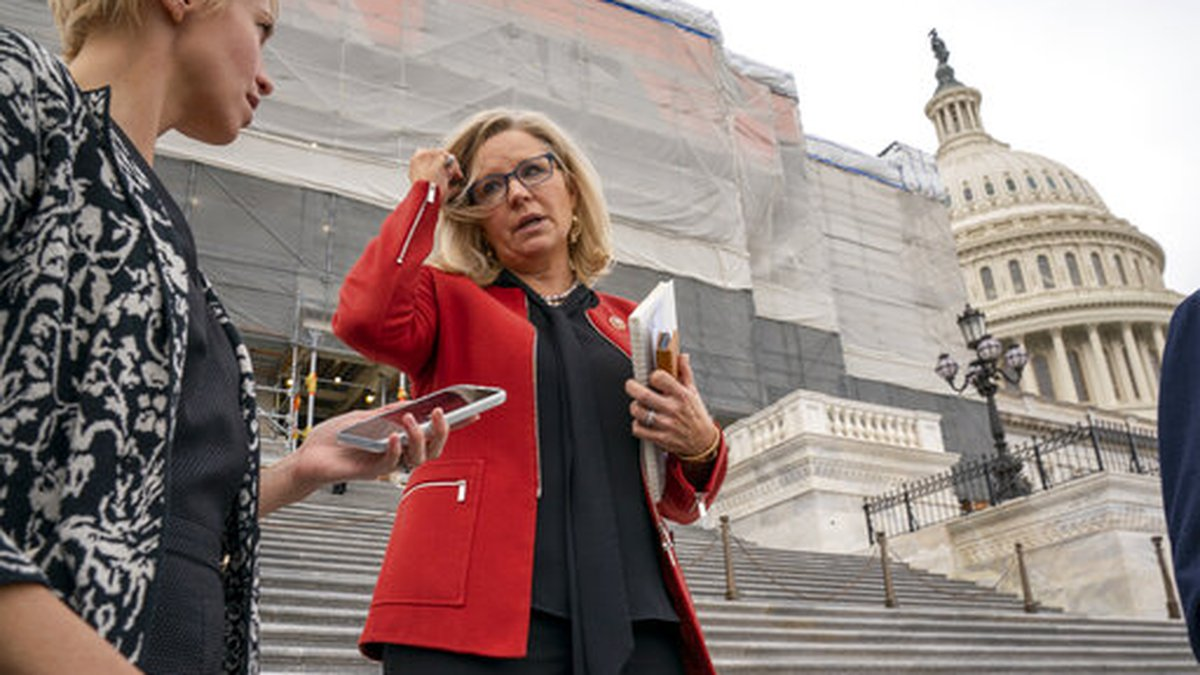Republican Conference chair Rep. Liz Cheney, R-Wyo., speaks with reporters as lawmakers leave...