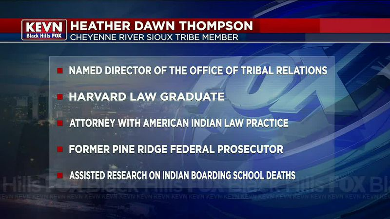 Cheyenne River Sioux Tribe member, Heather Dawn Thompson appointed director of USDA Office of...
