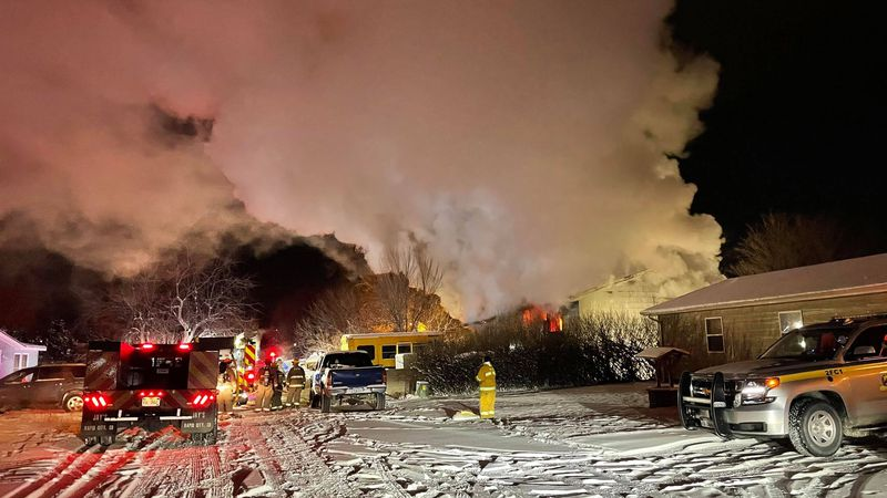Crews battle Rapid Valley house fire in sub-zero temps
