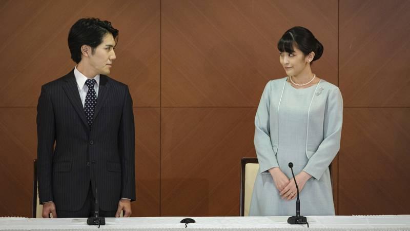 Japan's former Princess Mako, right, the elder daughter of Crown Prince Akishino and Crown...