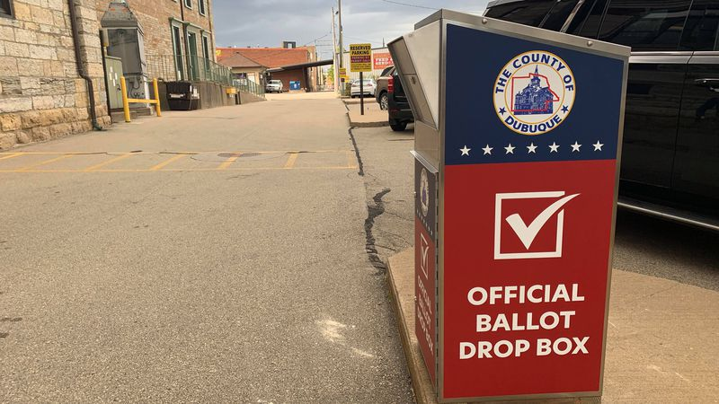 Election officials say the new dropbox located behind the courthouse is monitored by security...