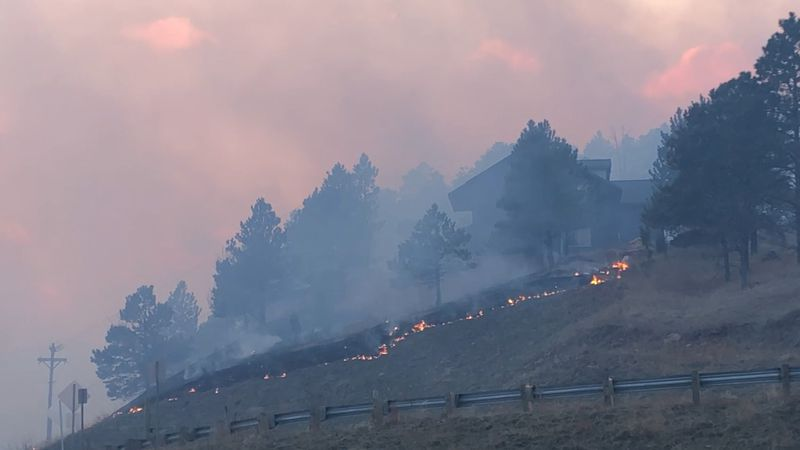 Schroeder Fire burns north of Highway 44 7 p.m. on March 29.