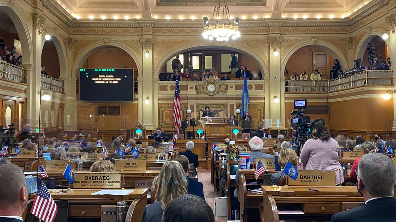 Governor Kristi Noem gives her State of the State Address from the State Capitol in Pierre.
