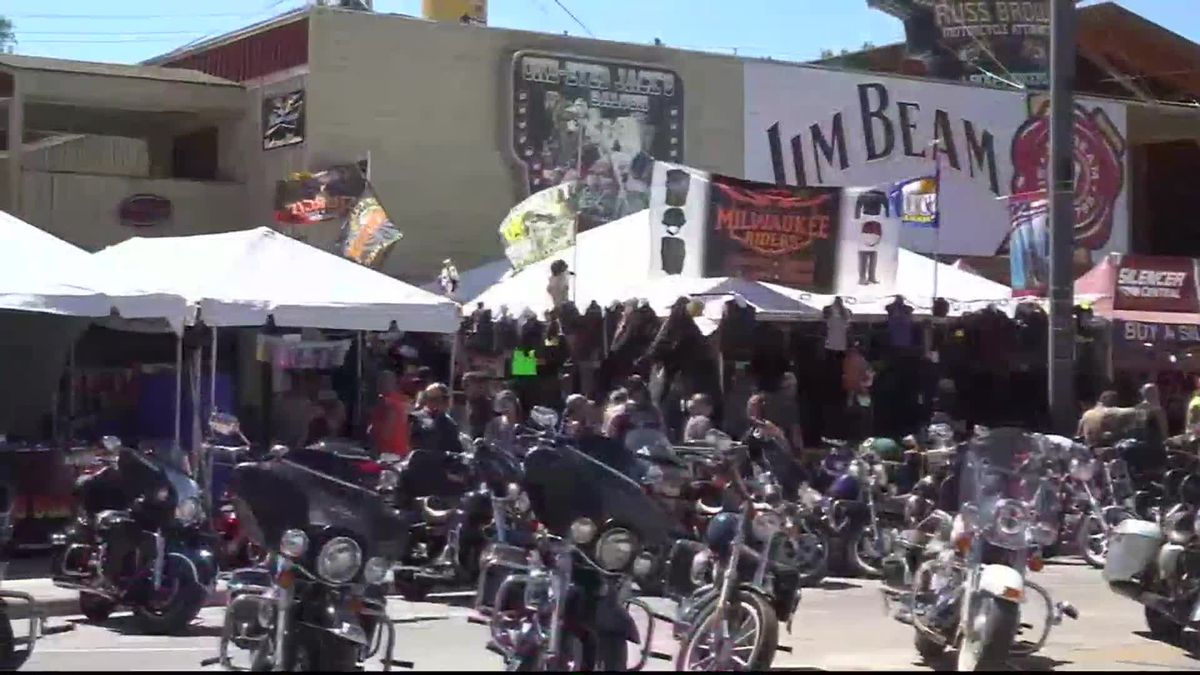 Bikes and vendors line the streets in downtown Sturgis.
