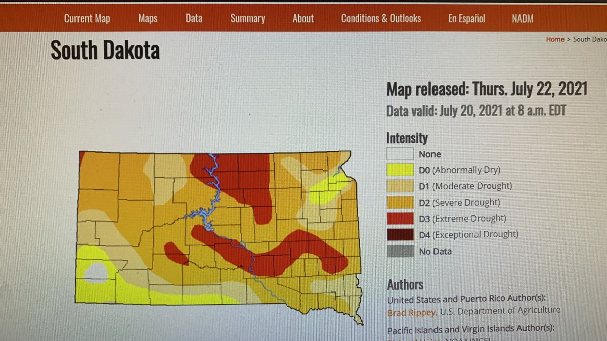 Current drought conditions across South Dakota.