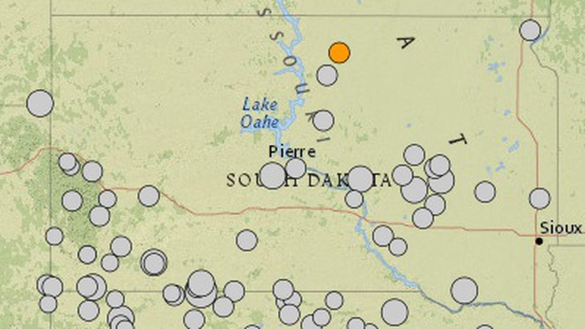 A USGS map of earthquakes recorded in or near South Dakota since 1900. The larger the circle,...