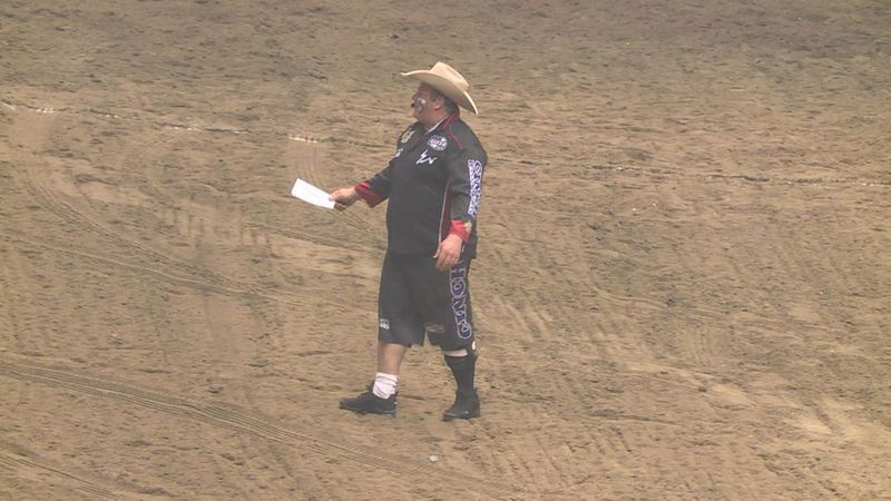 Justin Rumford, a professional rodeo clown, says it's like being a hype man or even a full-time...