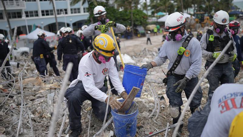 Over 200 first responders from across the U.S. had removed 4,207 cubic yards of debris from the...