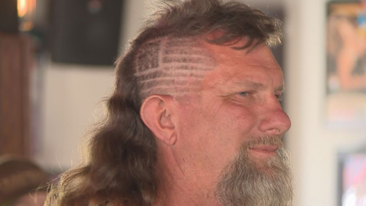 Roger Robinson from Texas wins best mullet during the Sturgis Rally
