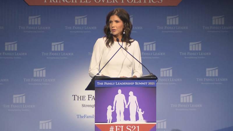 Gov. Kristi Noem speaks in Des Moines, Iowa.