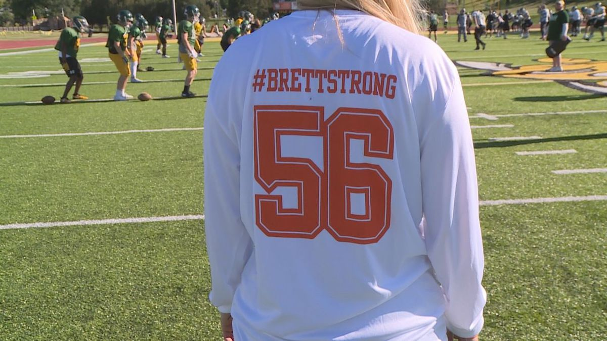 Brett Lamb's girlfriend wears a #Brettstrong shirt, Lamb played football for Black Hills State last year and is currently battling Leukemia (KEVN)