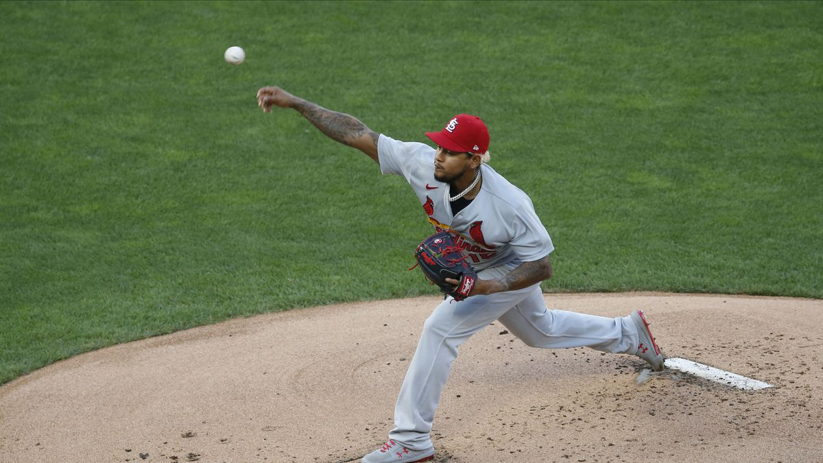 St. Louis Cardinals pitcher Carlos Martinez throws against the Minnesota Twins in the first...