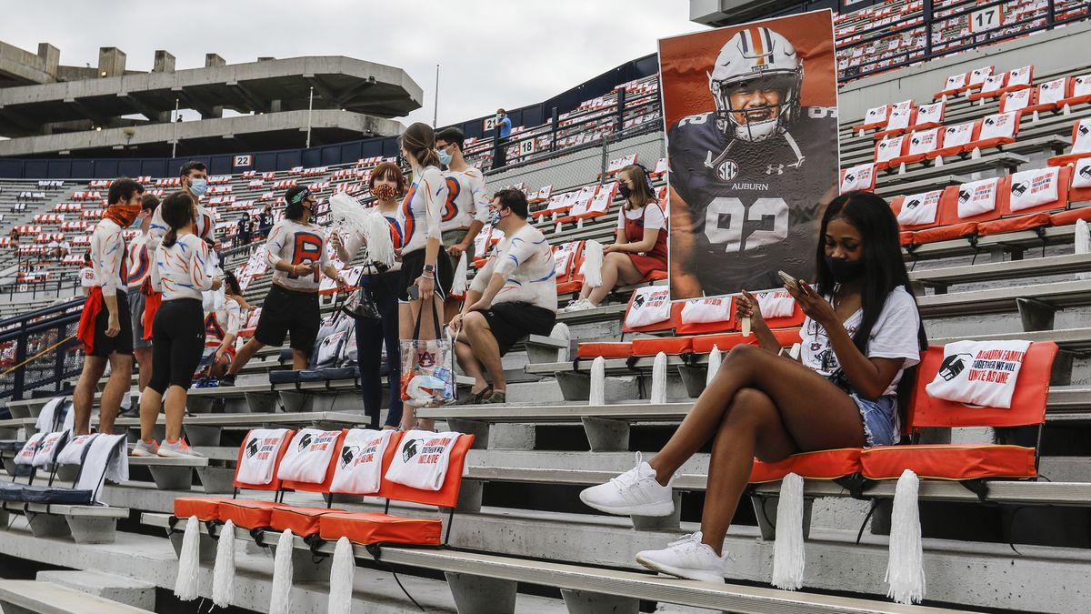 Auburn students are socially distanced as they wait the start of an NCAA college football game against Kentucky on Saturday, September 26, 2020 in Auburn, Alabama.