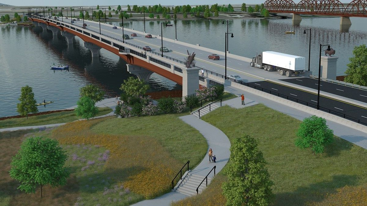 An engineer's rendering of the new bridge connecting Pierre and Fort Pierre, which is set to...