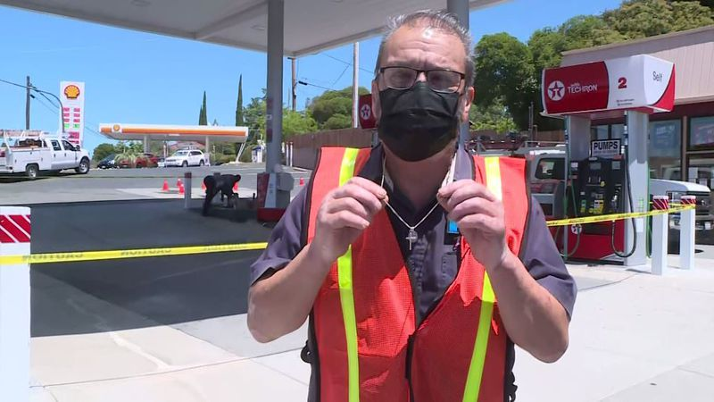 Jesse Huizar, a Texaco employee in Auburn, California, says his life was spared by mere inches...