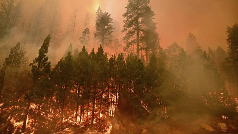 The Caldor Fire burning Aug. 26
