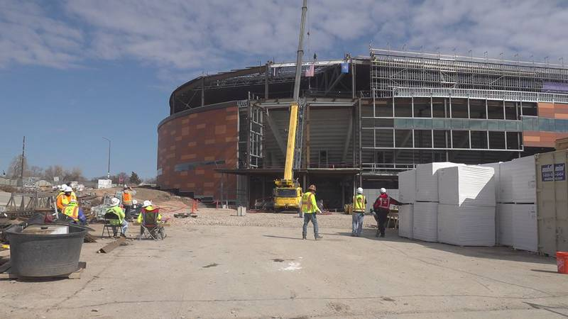 """A """"topping out"""" ceremony was held Saturday outside the future arena to commemorate the..."""