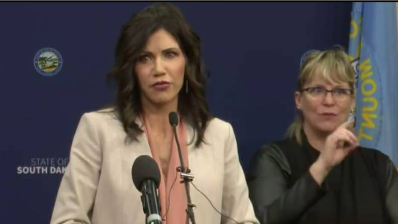Gov. Kristi Noem (R, S.D.) discusses media coverage of the Keystone XL pipeline during a press...